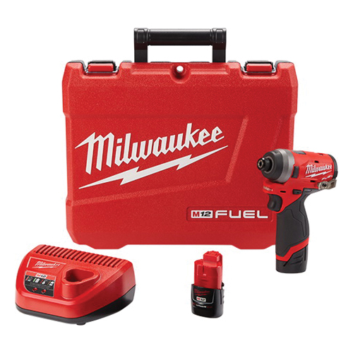 Milwaukee® 2553-22 M12 FUEL™ Cordless Impact Driver Kit, 1/4 in Hex Drive, 4000 bpm, 1300 in-lb Torque, 12 VAC