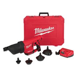 Milwaukee® 2572A-21 M12™ AIRSNAKE™ Cordless Drain Cleaning Air Gun Kit, 1 to 4 in Drain Line, 35 ft Max Run, 12 VDC, Plastic Housing