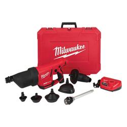 Milwaukee® 2572B-21 M12™ AIRSNAKE™ Cordless Drain Cleaning Air Gun Kit, 35 ft Max Run, 12 VDC, Plastic Housing