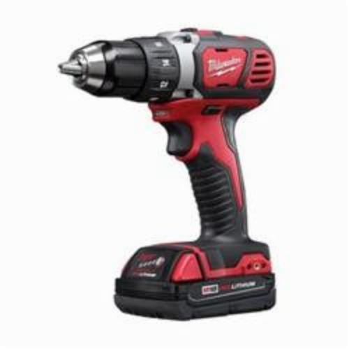 Milwaukee® 2606-22CT M18™ Cordless Drill/Driver Kit, 1/2 in Chuck, 18 VDC, 0 to 400/0 to 1800 rpm No-Load, 7-1/4 in OAL, Lithium-Ion Battery
