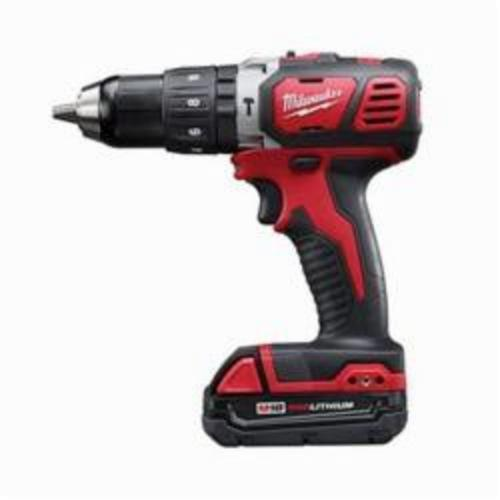Milwaukee® 2607-22CT M18™ Cordless Hammer Drill/Driver Kit, 1/2 in Metal Single Sleeve Ratcheting Lock Chuck, 18 VDC, 400/1800 rpm No-Load