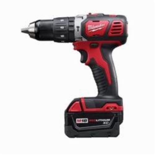 Milwaukee® 2607-22 M18™ Hammer Drill/Driver Kit, 1/2 in Metal Single Sleeve Ratcheting Lock Chuck, 18 VDC, 400/1800 rpm No-Load
