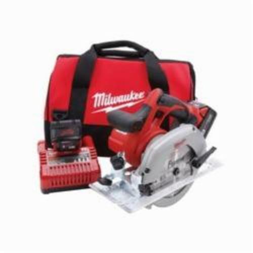 Milwaukee® 2630-22 M18™ Cordless Circular Saw Kit, 6-1/2 in Blade, 5/8 in Arbor/Shank, 18 VDC, 1-5/8 in 45 deg, 2-1/8 in at 90 deg D Cutting, REDLITHIUM™ XC™ Lithium-Ion Battery