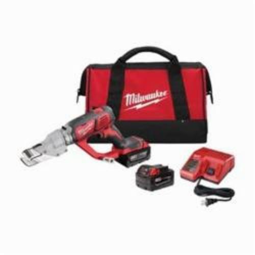Milwaukee® 2637-22 M18™ Single Cut Cordless Shear Kit, 20 ga Stainless Steel, 18 ga Steel Cutting, 2300 spm, 16-1/2 in OAL, Lithium-Ion Battery