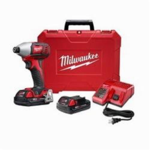 Milwaukee® 2657-22CT M18™ 2-Speed Compact Cordless Impact Driver Kit, 1/4 in Hex/Straight Drive, 3350 bpm, 1500 in-lb, 18 VAC, 5-1/2 in OAL