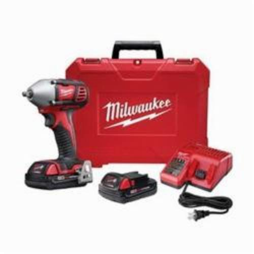 Milwaukee® 2658-22CT M18™ Compact Cordless Impact Wrench Kit With Friction Ring, 3/8 in Straight Drive, 3350 bpm, 167 ft-lb, 18 VDC, 6 in OAL