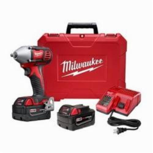 Milwaukee® 2658-22 M18™ Compact Cordless Impact Wrench Kit With Friction Ring, 3/8 in Straight Drive, 0 to 3350 bpm, 167 ft-lb, 18 VDC, 6 in OAL