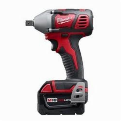 Milwaukee® 2659-22 M18™ Compact Cordless Impact Wrench Kit With Pin Detent, 1/2 in Straight Drive, 3350 bpm, 183 ft-lb, 18 VDC, 6 in OAL