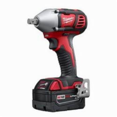 Milwaukee® M18™ 2659-22 Compact Cordless Impact Wrench Kit With Pin Detent, 1/2 in Straight Drive, 3350 bpm, 183 ft-lb Torque, 18 VDC, 6 in OAL