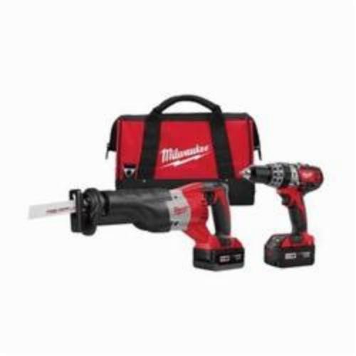 Milwaukee® M18™ 2694-22 Cordless Combination Kit, Tools: Hammer Drill, Reciprocating Saw, 18 VDC, 3 Ah Lithium-Ion, Keyed Blade