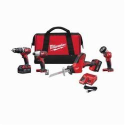 Milwaukee® 2695-24 M18™ 4-Tool Cordless Combination Kit, Tools: Hammer Drill, Impact Driver, Reciprocating Saw, 18 VDC, 3 Ah Lithium-Ion, Keyless