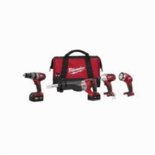 Milwaukee® 2696-24 M18™ 4-Tool Cordless Combination Kit, Tools: Hammer Drill, Impact Driver, Reciprocating Saw, 18 VDC, 3 Ah Lithium-Ion, Keyless