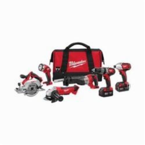 Milwaukee® M18™ 2696-26 Cordless Combination Kit, Tools: Angle Grinder, Circular Saw, Hammer Drill, Impact Driver, Reciprocating Saw, 18 VDC, 3 Ah Lithium-Ion, Keyless Blade