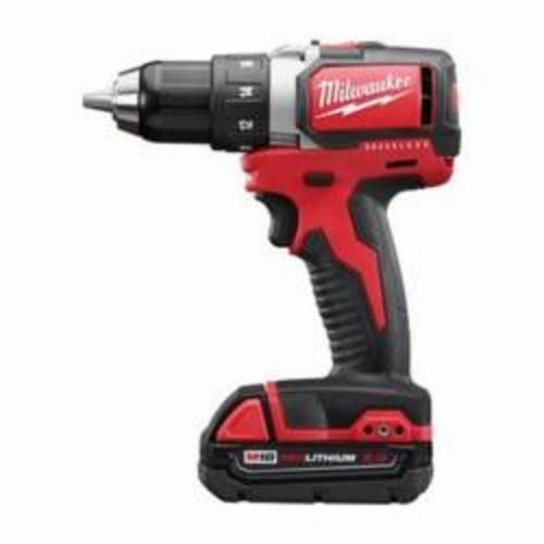 Milwaukee® 2701-22CT M18™ Compact Cordless Drill/Driver Kit, 1/2 in Chuck, 18 VDC, 0 to 450/0 to 1800 rpm No-Load, 6-7/8 in OAL, Lithium-Ion Battery