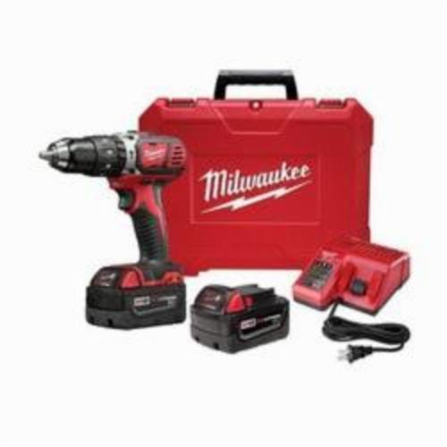 Milwaukee® 2702-22CT M18™ Compact Brushless Cordless Hammer Drill/Driver Kit, 1/2 in Keyless Chuck, 18 VDC, 0 to 450/0 to 1800 rpm No-Load