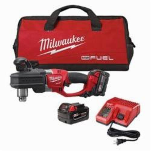 Milwaukee® 2707-22 M18™ FUEL™ HOLE HAWG® Cordless Right Angle Drill Kit, 1/2 in Keyed Chuck, 18 VDC, 650 ft-lb, 0 to 1200 rpm No-Load, 17 in OAL, Lithium-Ion Battery