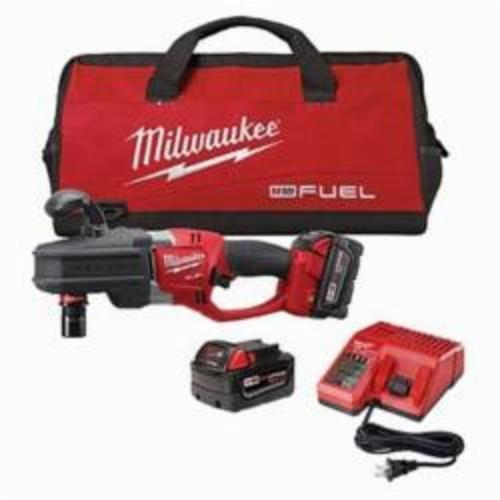 Milwaukee® 2708-22 M18™ FUEL™ HOLE HAWG® Cordless Right Angle Drill Kit, 1/2 in QUIK-LOK™ Chuck, 18 VDC, 650 ft-lb, 0 to 1200 rpm No-Load, 17 in OAL, Lithium-Ion Battery