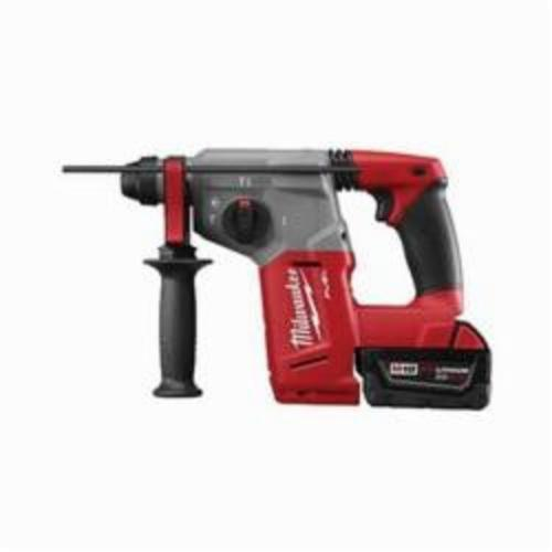 Milwaukee® 2712-22DE M18™ FUEL™ Cordless Rotary Hammer Kit, 1 in Keyless/SDS Plus® Chuck, 18 VDC, 1400 rpm No-Load, Lithium-Ion Battery