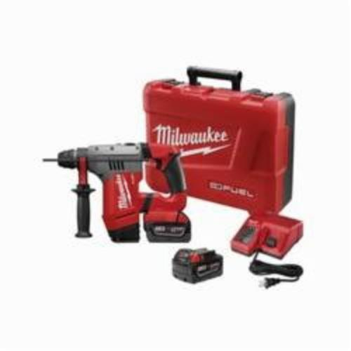 Milwaukee® 2715-22 M18™ FUEL™ Cordless Rotary Hammer Kit, 1-1/8 in Keyless/SDS Plus® Chuck, 18 VDC, 1350 rpm No-Load, Lithium-Ion Battery