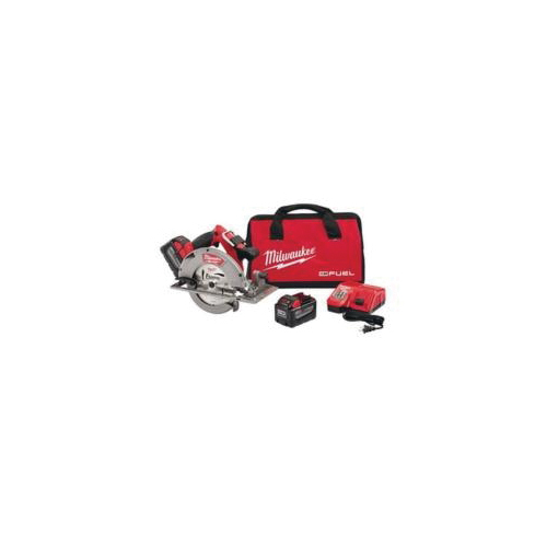 Milwaukee® M18 FUEL™ 2731-22HD Cordless Circular Saw Kit, 7-1/4 in Dia Blade, 5/8 in Arbor/Shank, 18 VDC, 1-7/8 at 45 deg, 2-1/2 in at 90 deg D Cutting, M18™ REDLITHIUM™ Lithium-Ion Battery, Right Blade Side
