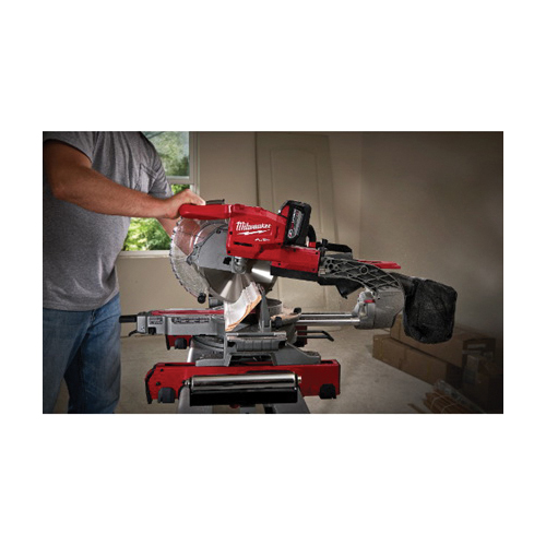 Milwaukee® 2734-21HD M18™ FUEL™ XC HIGH DEMAND™ Cordless Dual Bevel Sliding Compound Miter Saw Kit, 10 in Blade, 5/8 in, 50 deg Left/60 deg Right Miter, 48 deg Right/48 deg Left Bevel