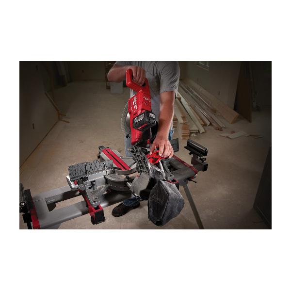 Milwaukee® M18™ FUEL™ 2734-21HD HIGH DEMAND™ Cordless Dual Bevel Sliding Compound Miter Saw Kit, 10 in Blade, 5/8 in Arbor/Shank, 50 deg Left/60 deg Right Miter, 48 deg Left/Right Bevel