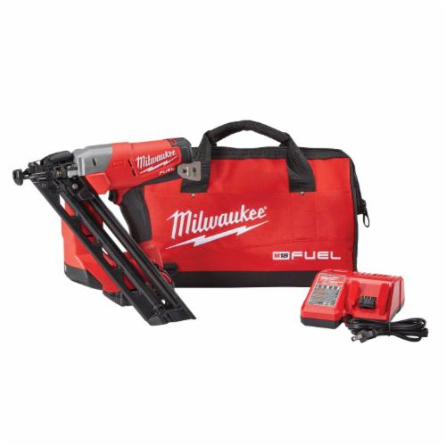 Milwaukee® M18™ FUEL™ 2743-21CT Cordless Finish Nailer Kit, 1-1/4 to 2-1/2 in Fastener, 110 Nails Magazine, 11-29/32 in OAL, Battery