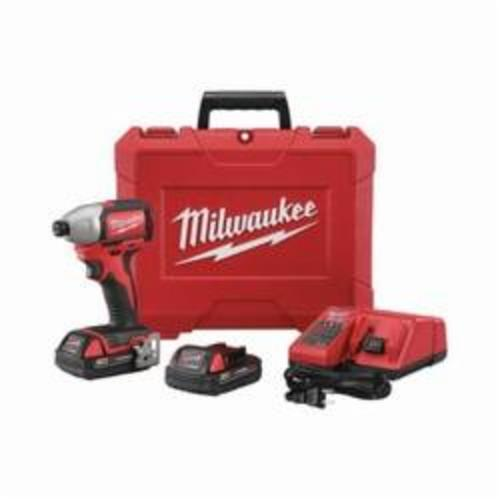 Milwaukee® 2750-22CT M18™ Compact Cordless Impact Driver Kit, 1/4 in Hex/Straight Drive, 0 to 3600 bpm, 1500 in-lb, 18 VAC, 5-3/8 in OAL