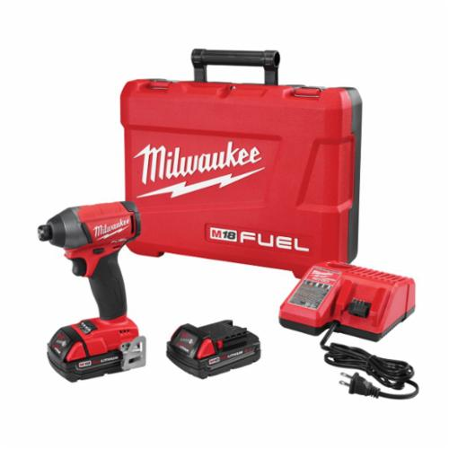 Milwaukee® 2753-22CT M18 FUEL™ Compact Cordless Impact Driver Kit, 1/4 in Hex Drive, 0 to 3700 ipm, 1800 in-lb, 18 VAC, 5-1/4 in OAL