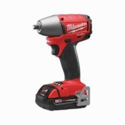 Milwaukee® 2754-22CT M18 FUEL™ Brushless Compact Impact Wrench Kit, 3/8 in Straight Drive, 0 to 3200 bpm, 220 ft-lb, 18 VDC, 5.9 in OAL