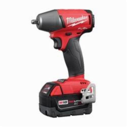 Milwaukee® 2754-22 M18 FUEL™ Brushless Compact Impact Wrench Kit, 3/8 in Straight Drive, 0 to 3200 bpm, 220 ft-lb, 18 VDC, 5.9 in OAL