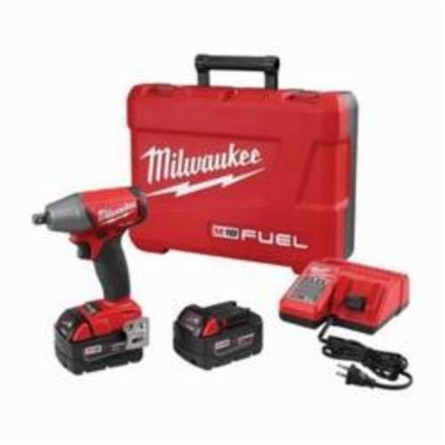 Milwaukee® 2755-22 M18 FUEL™ Brushless Compact Impact Wrench Kit With Pin Detent, 1/2 in Straight Drive, 0 to 3200 bpm, 220 ft-lb, 18 VDC, 6.1 in OAL