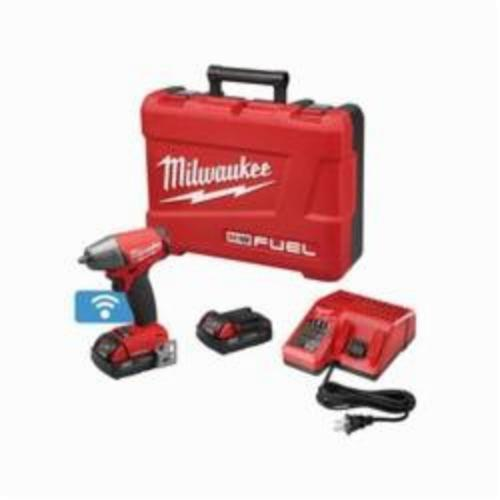Milwaukee® 2758-22CT M18 FUEL™ Brushless Compact Impact Wrench Kit With Friction Ring, 3/8 in Straight Drive, 0 to 3200 bpm, 210 ft-lb, 18 VDC, 5.9 in OAL