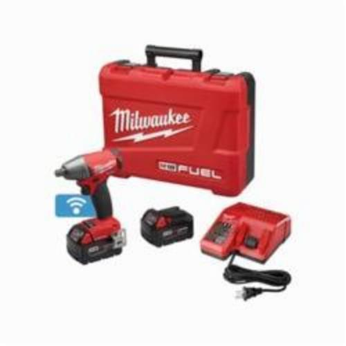 Milwaukee® 2759-22 M18 FUEL™ Brushless Compact Impact Wrench Kit With Pin Detent, 1/2 in Straight Drive, 0 to 3200 bpm, 220 ft-lb, 18 VDC, 6.1 in OAL