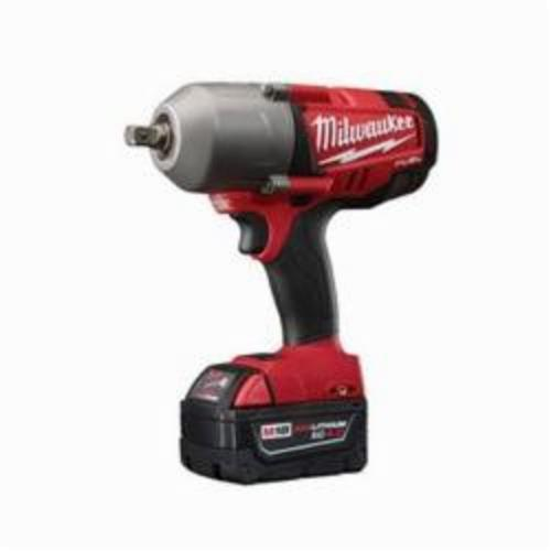 Milwaukee® 2762-22 M18 FUEL™ High Torque Cordless Impact Wrench Kit With Pin Detent, 1/2 in Straight Drive, 1700/2300 bpm, 350 ft-lb (Mode 1), 600 ft-lb (Mode 2), 18 VDC, 8-3/4 in OAL