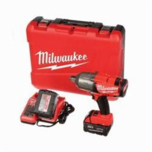Milwaukee® 2764-22 M18™ FUEL™ High Torque Cordless Impact Wrench Kit With Friction Ring, 3/4 in Straight Drive, 1700/2300 bpm, 375 ft-lb (Mode 1), 750 ft-lb (Mode 2) Torque, 18 VDC, 9 in OAL