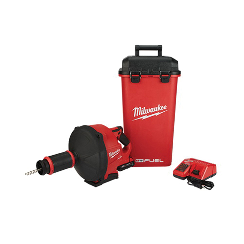 Milwaukee® 2772A-21 M18 FUEL™ Cordless Drain Gun Kit With CABLE-DRIVE™ Locking Feed System, 1-1/4 to 3 in Drain Line, 50 ft Max Run, 18 VDC, Plastic Housing