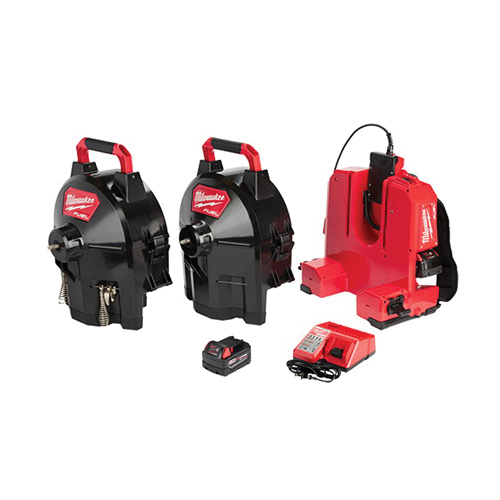 Milwaukee® 2775C-222 M18™ FUEL™ SWITCH PACK™ Sectional Drum System, 1-1/4 to 4 in Drain Line, 100 ft Max Run, 18 VDC, HDPE Drum Housing