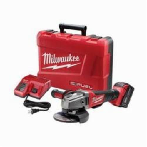 Milwaukee® 2780-21 M18™ FUEL™ Cordless Grinder Kit, 5 in Dia Wheel, 5/8-11 Arbor/Shank, 18 VDC, Lithium-Ion Battery, 1 Battery, Paddle No-Lock Switch