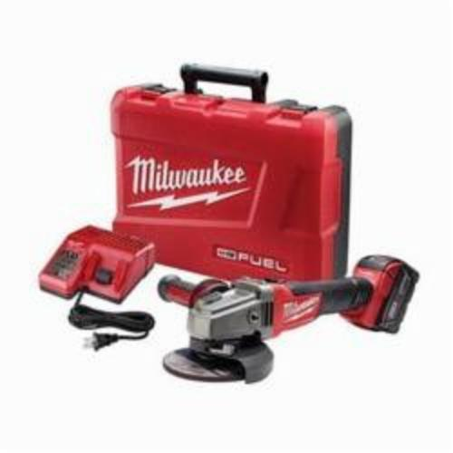 Milwaukee® 2781-21 M18™ FUEL™ Cordless Angle Grinder Kit, 5 in Dia Wheel, 5/8-11 Arbor/Shank, 18 VDC, Lithium-Ion Battery, 1 Battery, Slide With Lock-ON Switch