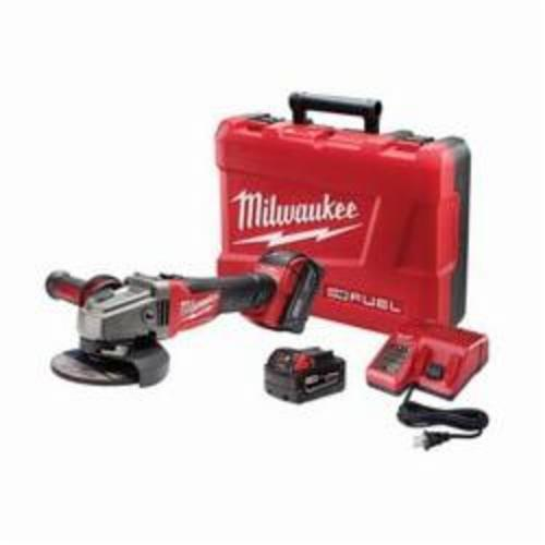 Milwaukee® 2781-22 M18™ FUEL™ Cordless Grinder Kit, 5 in Dia Wheel, 5/8-11 Arbor/Shank, 18 VDC, Lithium-Ion Battery, 2 Batteries, Lock-ON Slide Switch/Trigger Lock Switch