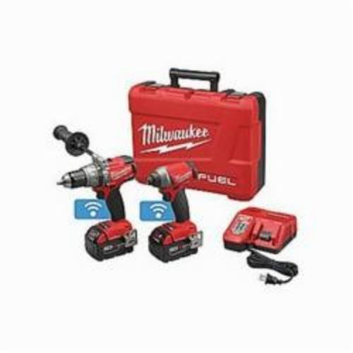 Milwaukee® 2795-22 M18 FUEL™ 2-Tool Cordless Combination Kit With ONE-KEY™ Mobile App, Tools: Drill, Impact Driver, 18 VDC, 5 Ah Lithium-Ion, Keyless Blade