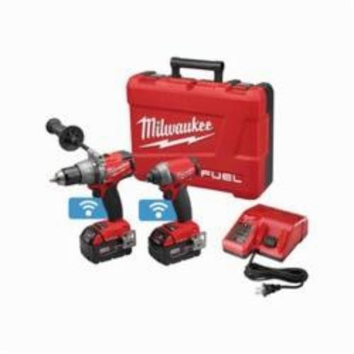 Milwaukee® 2796-22 M18 FUEL™ 2-Tool Cordless Combination Kit With ONE-KEY™ Mobile App, Tools: Hammer Drill, Impact Driver, 18 VDC, 5 Ah Lithium-Ion, Keyless Blade