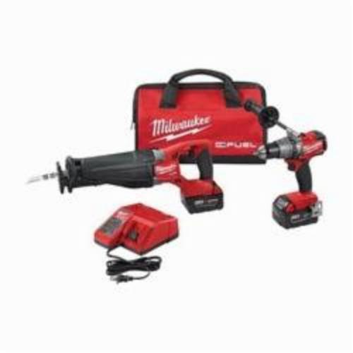 Milwaukee® 2894-22 M18™ FUEL™ 2-Tool Cordless Combination Kit, Tools: Hammer Drill, Reciprocating Saw, 18 VDC, 5 Ah Lithium-Ion, Keyless Blade
