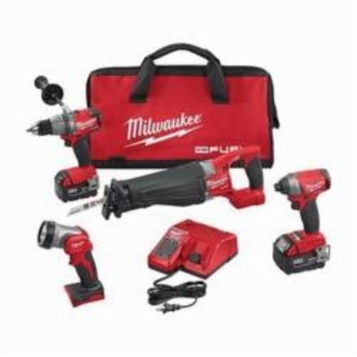 Milwaukee® 2896-24 M18™ FUEL™ 4-Tool Cordless Combination Kit, Tools: Hammer Drill, Impact Driver, Reciprocating Saw, 18 VDC, 5 Ah Lithium-Ion, Keyless