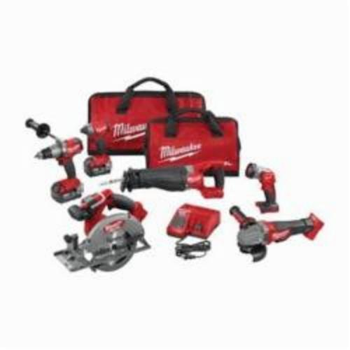 Milwaukee® 2896-26 M18™ FUEL™ 6-Tool Cordless Combination Kit, Tools: Angle Grinder, Circular Saw, Hammer Drill, Impact Wrench, Reciprocating Saw, 18 VDC, 5 Ah Lithium-Ion, Keyless Blade