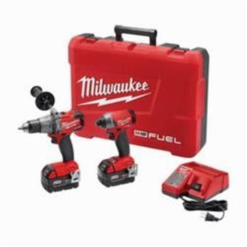 Milwaukee® 2897-22 M18 FUEL™ 2-Tool Cordless Combination Kit, Tools: Hammer Drill, Impact Driver, 18 VDC, 5 Ah Lithium-Ion, Keyless Blade