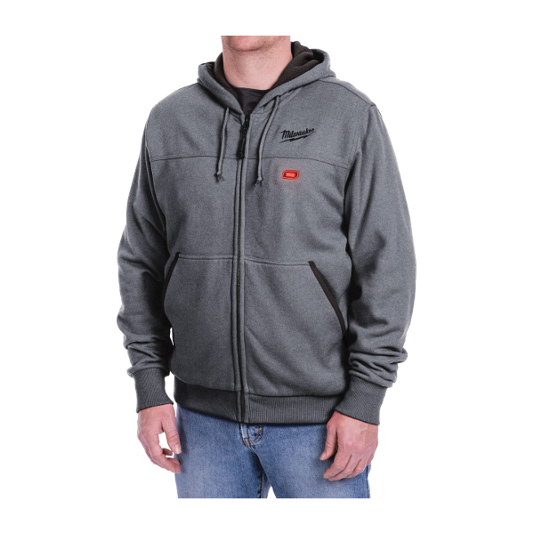 Milwaukee® 301G-20XL M12™ Heated Hoodie, XL, Gray, Cotton/Polyester Blend Outer, 46 to 48 in Chest