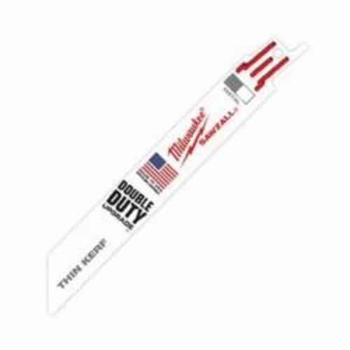 Milwaukee® Ice Hardened™ 48-01-8186 Sawzall® Double Duty Straight Back Thin Kerf Reciprocating Saw Blade, 6 in L x 3/4 in W, 24, Cryogenic Bi-Metal Body, Universal Tang
