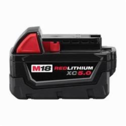Milwaukee® M18™ REDLITHIUM™ 48-11-1850 Rechargeable Cordless Battery Pack, 5 Ah Lithium-Ion Battery, 18 VDC Charge, For Use With Milwaukee® M18™ Cordless Power Tool